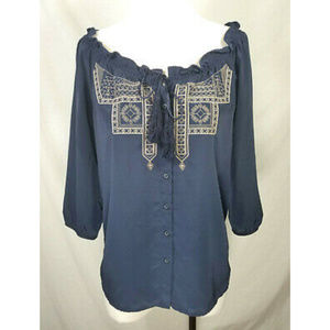 🌸 Old Navy Blue Embroidered Tassel Ruffle Blouse
